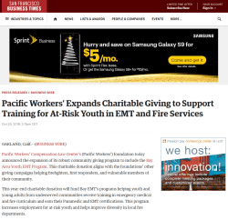 Pacific Workers' Expands Charitable Giving to Support Training for At-Risk Youth in EMT and Fire Service